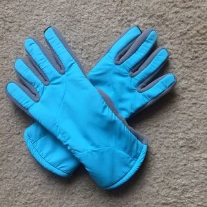 LANDS END aqua blue gloves - size S-M - EUC